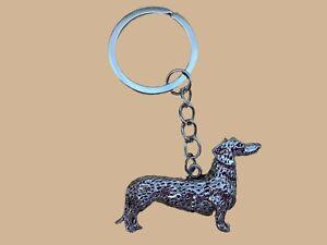 Metallic Smooth Haired Dachshund Sausage Dog Key Ring Brand New in Bag