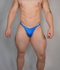 MEN'S NEW BLUE POSING SUIT TRUNKS BODYBUILDER Muscle NARROW BACK XL