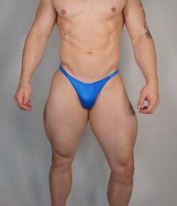 NEW MEN'S NEW BLUE POSING SUIT TRUNKS BODYBUILDER Muscle NARROW BACK XL