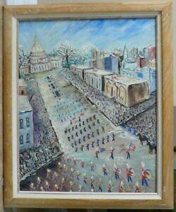 Original Oil By Eloise Minor Johnson 'Parade' Folk-art' Gifted/Fine 23 X 19