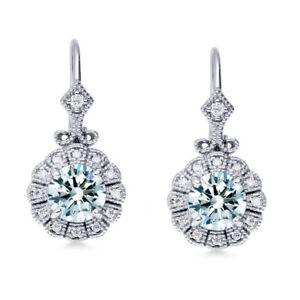 2.14Ct Vvs1>Ice Blue white Moissanite Diamond Sterling Silver 925 Drop Earrings