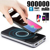 Power Bank 900000mAh Qi Wireless Fast Portable Charger External Backup Battery