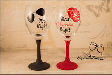 MR RIGHT AND MRS ALWAYS RIGHT Personalised Glitter wine glasses sunglasses lips