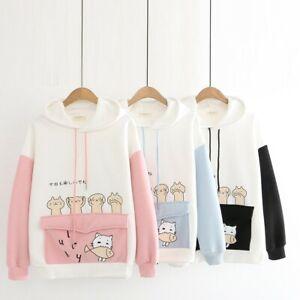Women Kawaii Ropa Harajuku Cute Cat Fleece Hoodies Sweatshirt Pullover Jumper