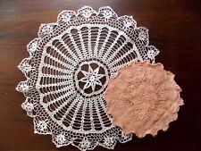2 Vintage Handmade Crochet Doilies Coral White #68