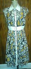 Boutique Day Dress Brown Yellow Chiffon Nipped Waist Flowing Skirt Sz Small