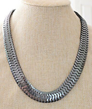 "Necklace - Black Metal Flat Herringbone Chain 20"" Necklace"