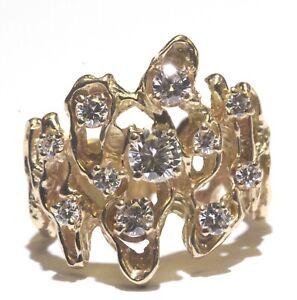 GIA 14k yellow gold .91ct round diamond womens cluster ring 8.4g estate vintage