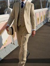 Mens 3 Piece Linen Formal Wedding Suit Blazer Groomsman Dinner Jacket Coat Pants