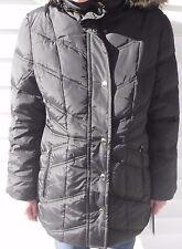 "London Fog Woman's Faux Fur Trim Hood 30"" Down W/Waist Color Black Medium, Large"