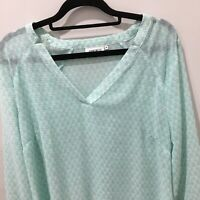 JEANSWEST Womens Size 10 Light Emerald Green Blouse Ladies Long Sleeved Top NEW*