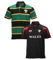 New Men's Wales Feathers Cymru Retro SA Short Sleeve Collar Rugby Striped Shirt