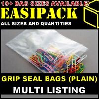 GRIP SEAL BAGS (PLAIN) Resealable Poly Plastic Polythene Clear Bags *All Sizes*