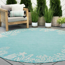 Round Tropical Starfish Sea Coral Indoor Outdoor Aqua Area Rug **FREE SHIPPING**