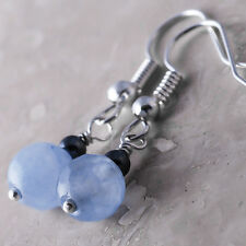 Silver Plated Dangle Fish Hook Earrings Faceted Jadeite Blue Hematite Ball