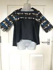 Dip Hem Black And Multicolured Shimmery Print Top Size Xs Made In Italy