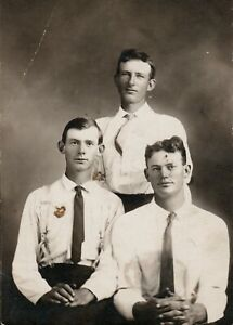 Hildebrand Brothers, George & Charley & Father,1900s Real Photo Postcard