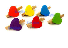 12 pcs Colorful Wooden Clip with heart for DIY Projects