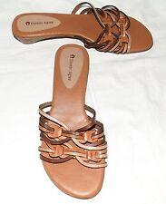 Etienne Aigner Brown Leather Strappy Kitten Heel Womens Sandals Size 8 M Brazil
