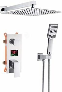 "Chrome Bathroom LCD Digital Display Shower System 10"" Rainfall Shower Mixer Tap"