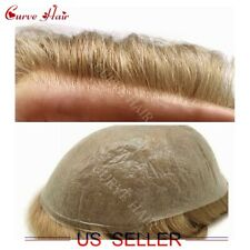 Thin Skin Men Toupee Light Ash Blonde Hair System For Men Invisible PU Hairpiece