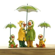 Ducks With Umbrellas Garden Ornaments Novelty Couple Sitting Statues Family Lawn