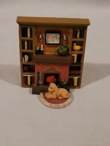 Dollhouse Furniture Cozy Fireplace W/  Dog Resting 3x2 Inches