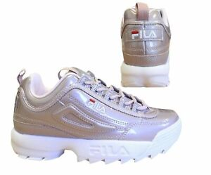 Fila Disruptor Patent Low Rose Lace Up Casual Womens Trainers 1010747 71P B*E