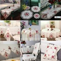 Embroidered Rose Cutwork Fabric Table Runner Cloth Doily Chair Seat Cushion Deco