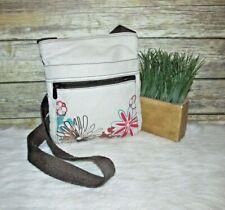 Thirty One Beige Cotton Canvas Floral Print Purse Shoulder Bag CrossBody