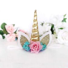 New Fun Kids Baby Unicorn Horn Hair Band Headband Birthday Party Flower Crown FR