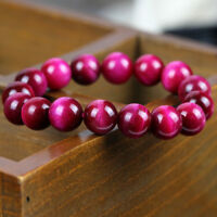 Natural Rose Red Tigers Eye Gemstone Stone Beads Women Stretchy Bracelet Bangle