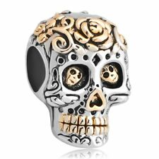 Halloween Fashion Skull Flower Charms Jewelry Beads Charm For Bracelet Gift