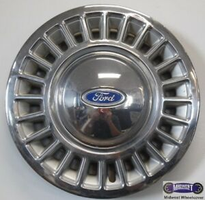 "'88-'97 FORD CROWN VIC 15"" USED HUBCAP,  BLUE FORD LOGO, METAL CLIPS, 863"