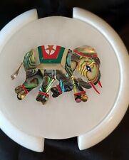 White Marble Tea Coaster Set Elephant Mosaic Stone Art Inlay
