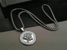 Medusa Head Silver Versac Iced Pendant Chain Necklace Bling Dog Tag Icy Shine