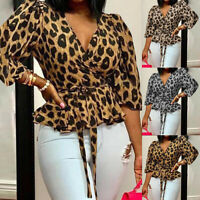 Women's Leopard Print V Neck Tops Ladies Long Sleeve Loose Casual Blouse T Shirt