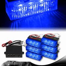 18 LED / 6 Light Head Emergency Warning Grille Deck Strobe Lights Set - Blue