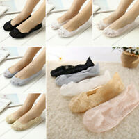 Women Summer Cotton Lace Breathable Invisible Low Cut Boat Loffer Socks