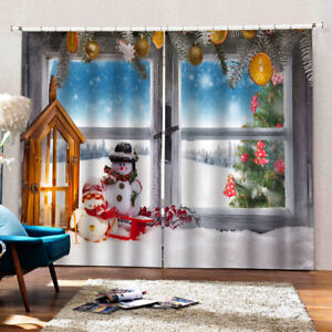"79x67"" inch Christmas Curtains Sets Waterproof Xmas Snowman 2Panels Drapes B"