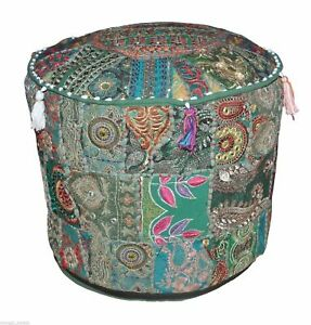 """Indian 14X18"""" Vintage Patchwork Ottoman Pouf Throw Moroccan Seat Footstool Cover"""