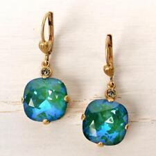 NWT La Vie Parisienne Catherine Popesco Large Round Crystal Earrings in Mermaid
