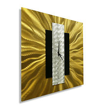 Modern Gold, Black & Silver Abstract Metal Wall Clock - Gold Rush by Jon Allen