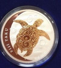 2010 Fiji turtle 2$ silver and gold plated coin (pièce argent et plaquée or)
