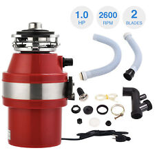 1.0 HP 2600 RPM Garbage Disposal Continuous Feed Kitchen Food Waste w/ Plug RED