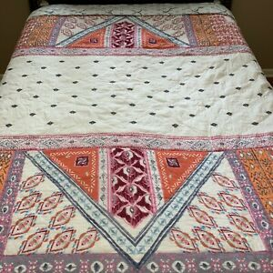 Anthropologie King Sized Quilt coverlet comforter bedspread boho reversible READ