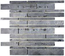 Mosaik Verblender Fliese Naturstein Schiefer schwarz Küche 34-0206_b   1 Matte
