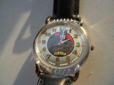New Batman Black Leather Fossil Watch.Quartz Battery Water Resist Watch.Li-1034.