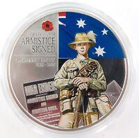 .2008 COOK ISLANDS 999% FINE SILVER 31.1g COLOURED $1 PROOF ARMISTICE +SPEC CARD