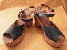 Sandal Platform Blue Jeans Vintage 1970 Sole Cork T.40 Old Stock New